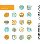 line icons with flat design... | Shutterstock .eps vector #304562927