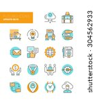 line icons with flat design... | Shutterstock .eps vector #304562933