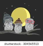 Three Owl Friends On The Tree...