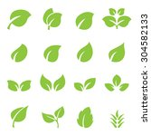 leaf icon set | Shutterstock .eps vector #304582133