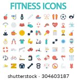 fitness icons set. flat vector... | Shutterstock .eps vector #304603187