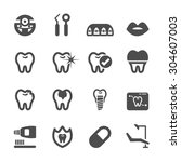 dental and medical icon set ... | Shutterstock .eps vector #304607003