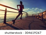 young fitness woman legs... | Shutterstock . vector #304619267