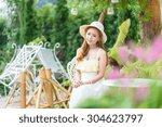 beautiful asian girl   Shutterstock . vector #304623797
