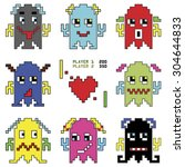 pixelated robot emoticons 1... | Shutterstock .eps vector #304644833