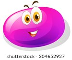 purple slime with smiling face... | Shutterstock .eps vector #304652927