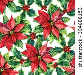 christmas poinsettia seamless... | Shutterstock . vector #304688153