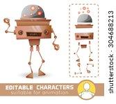 fantastic alien robot with... | Shutterstock .eps vector #304688213