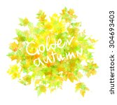 autumn leaves background.... | Shutterstock . vector #304693403