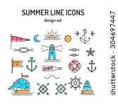 summer line icon set. nautical... | Shutterstock .eps vector #304697447