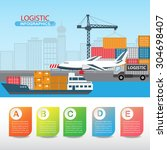 logistic infographics. there... | Shutterstock .eps vector #304698407