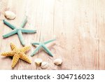 summer setting with sea shells... | Shutterstock . vector #304716023