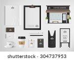 restaurant cafe set shop front... | Shutterstock .eps vector #304737953