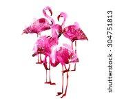 watercolor flamingos | Shutterstock .eps vector #304751813