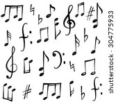 Stock vector music notes and signs set hand drawn music symbol sketch collection 304775933