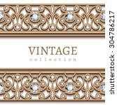 vintage gold jewelry background ... | Shutterstock .eps vector #304786217