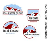 four real estate emblems with a ... | Shutterstock .eps vector #304787993