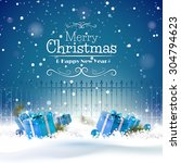 christmas greeting card with... | Shutterstock .eps vector #304794623