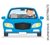 young man driving blue car.... | Shutterstock .eps vector #304798673