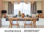 dining wooden table and... | Shutterstock . vector #304805687