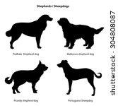 dog silhouette icon set.... | Shutterstock .eps vector #304808087