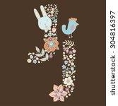 the letter j. bright floral... | Shutterstock .eps vector #304816397