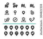 map and location icons set... | Shutterstock .eps vector #304821533