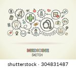 medical hand draw integrated... | Shutterstock .eps vector #304831487