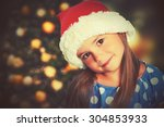 Happy Child Girl In A Christma...