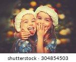 christmas happy funny children... | Shutterstock . vector #304854503