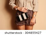 fashionable woman with  stylish ... | Shutterstock . vector #304855427