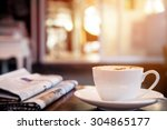 cup of cappuccino with... | Shutterstock . vector #304865177
