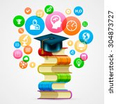 stack of books with icons art... | Shutterstock .eps vector #304873727