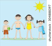 family goes to the beach to... | Shutterstock .eps vector #304888397