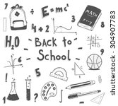 hand drawn back to school... | Shutterstock .eps vector #304907783