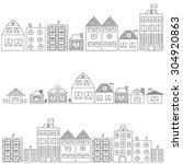 set of vector sketches of... | Shutterstock .eps vector #304920863