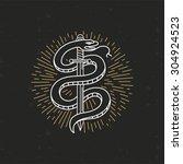 vector linear monochrome tattoo ... | Shutterstock .eps vector #304924523