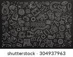 chalkboard vector hand drawn... | Shutterstock .eps vector #304937963