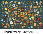colorful vector hand drawn... | Shutterstock .eps vector #304941617