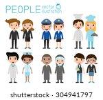 set of diverse occupation...   Shutterstock .eps vector #304941797