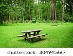 wooden bench and table on a... | Shutterstock . vector #304945667