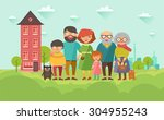 portrait of six member happy... | Shutterstock .eps vector #304955243