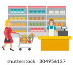 scene in the store with cashier ... | Shutterstock .eps vector #304956137