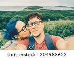 traveler young loving couple... | Shutterstock . vector #304983623