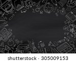 back to school hand drawn... | Shutterstock .eps vector #305009153