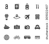 travel icons. simple flat... | Shutterstock .eps vector #305022407