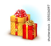 christmas icon with gift boxes  | Shutterstock . vector #305026097