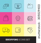 thin line shopping icons set.... | Shutterstock .eps vector #305029403