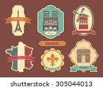 travel labels with symbols of... | Shutterstock .eps vector #305044013