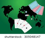 poker game with world map... | Shutterstock .eps vector #305048147